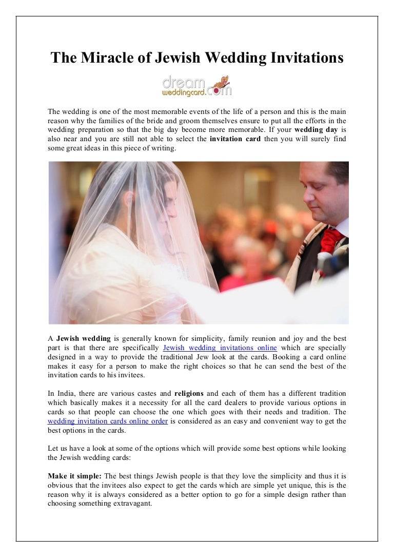 The miracle of jewish wedding invitations