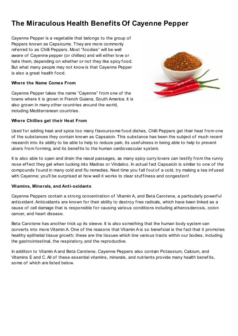 The Miraculous Health Benefits Of Cayenne Pepper