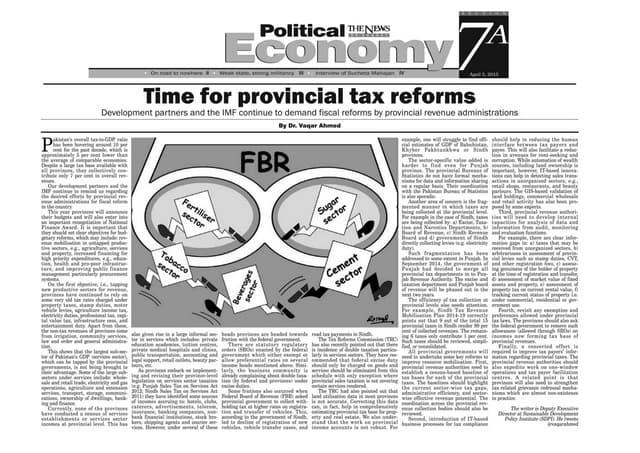 Pakistan: Provincial Tax Reform