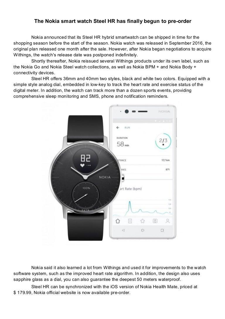 The Nokia Smart Watch Steel Hr Has Finally Begun To Pre Order