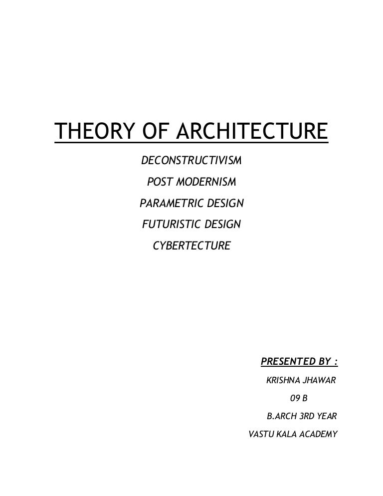 Architecture Design Theory theory of architecture