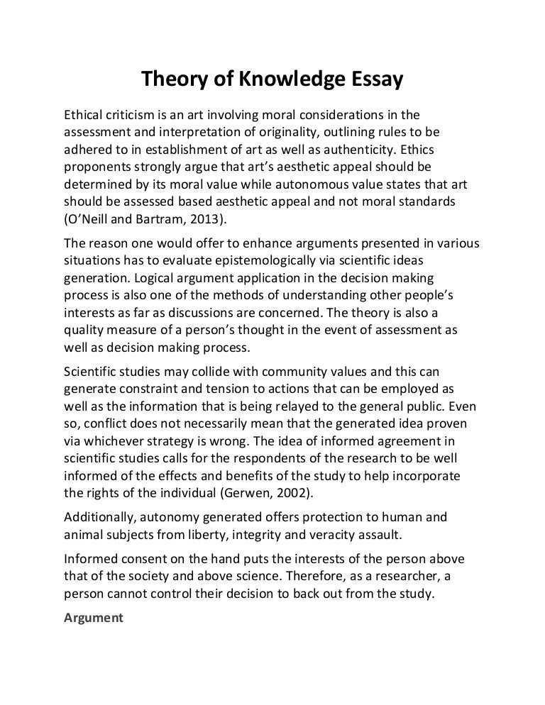 theory of knowledge essay