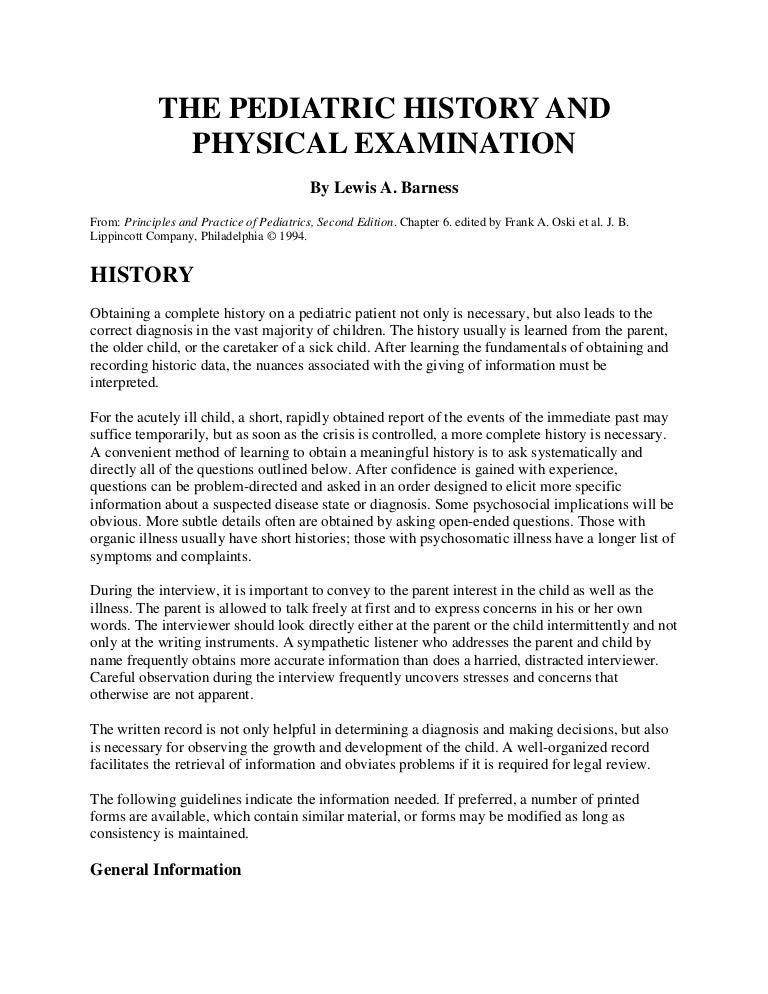 the pediatric history and physical examination