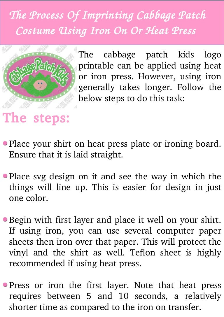 photo regarding Cabbage Patch Logo Printable titled The course of action of imprinting cabbage patch dress working with iron