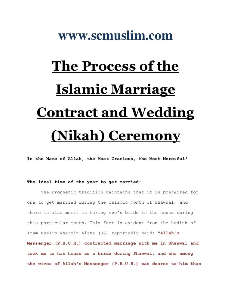 The Process Of The Islamic Marriage Contract And Wedding Nikah Cere