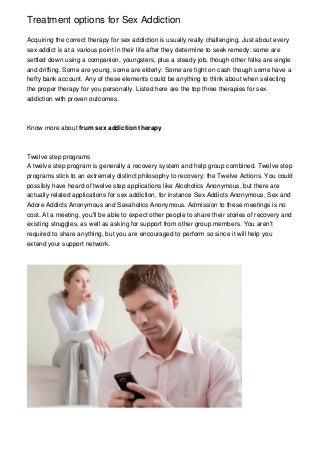 Treatment options for Sex Addiction