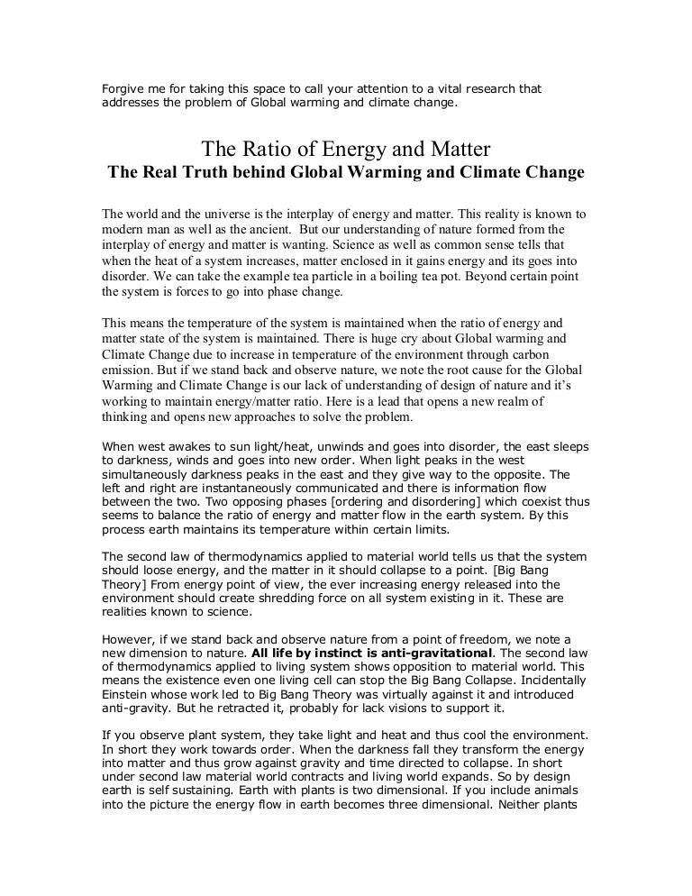 the ratio of energy and matter the truth behind global warming and