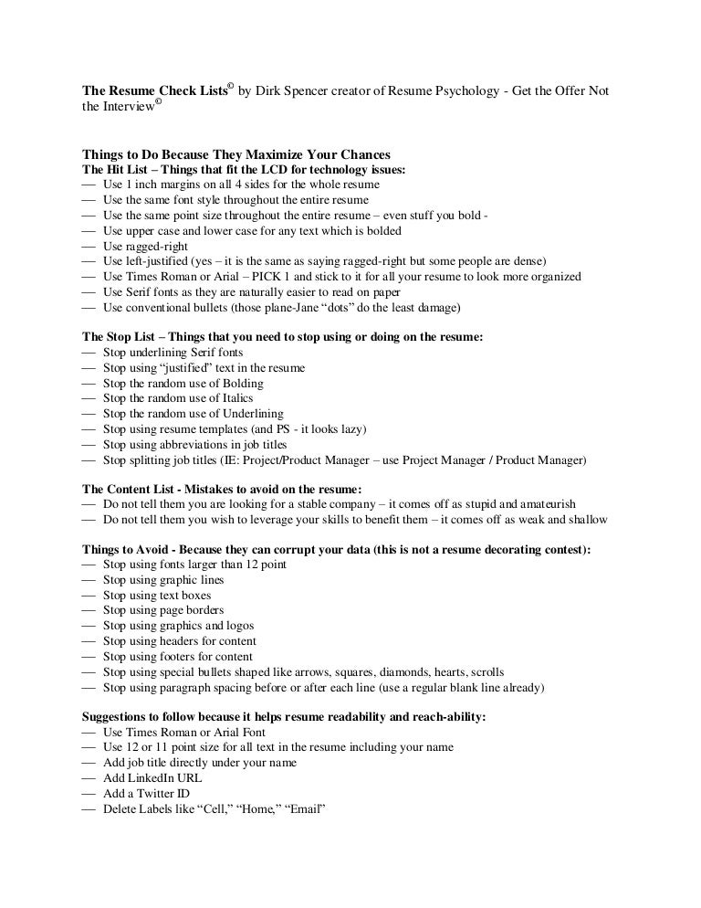 the resume check list from dirk spencer
