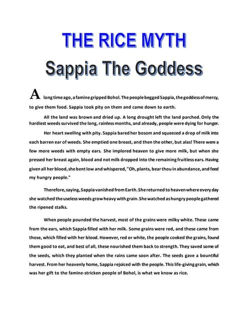 the rice myth bohol version grade 7