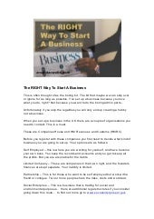 The Right Way To Start A Business