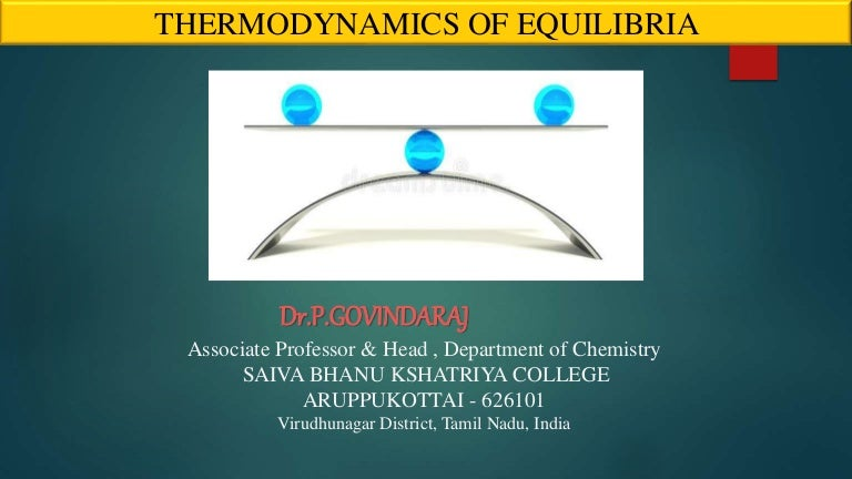 Thermodynamic of equilibria