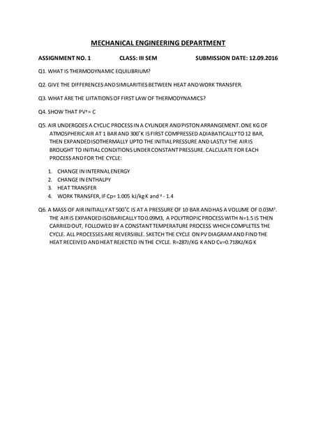 thermodynamics assignment