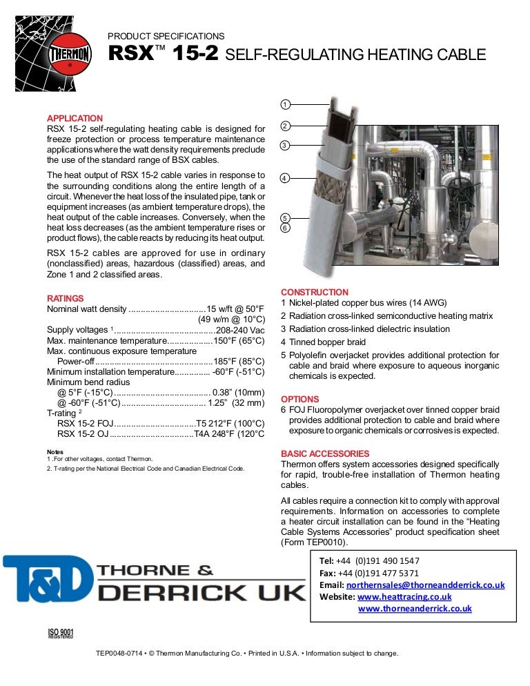 Thermon RSX 15-2 Heat Tracing Cable - Spec Sheet
