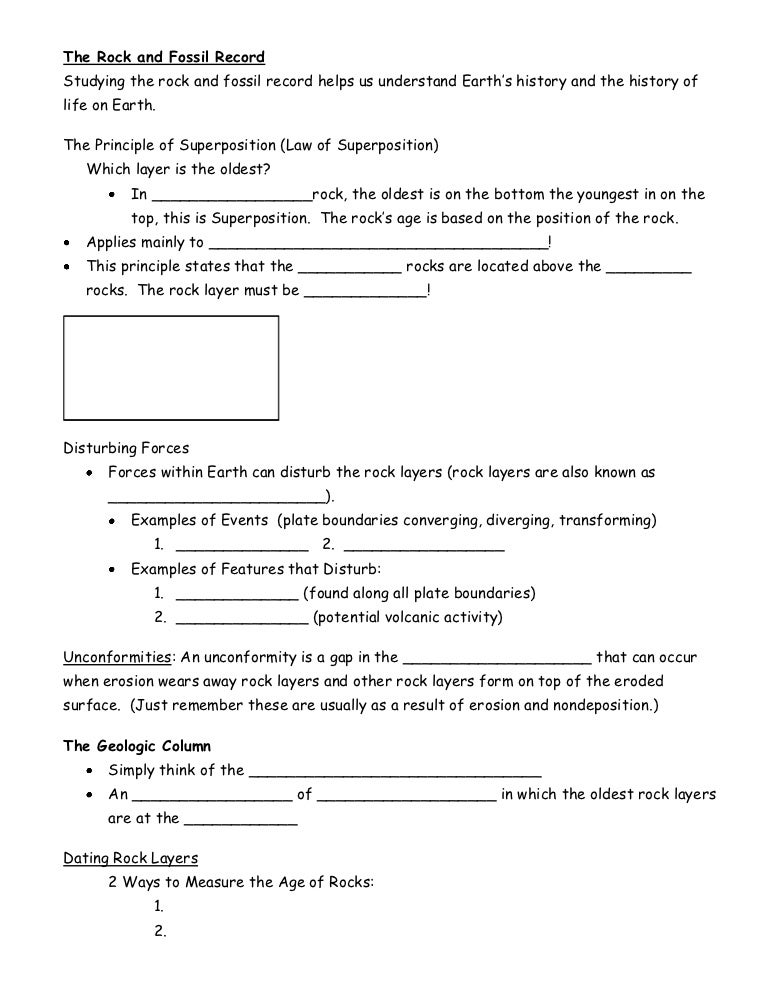 The rock and fossil record cloze notes – Index Fossils Worksheet