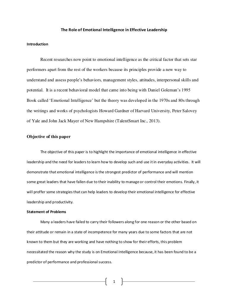 emotional intelligence essay pdf