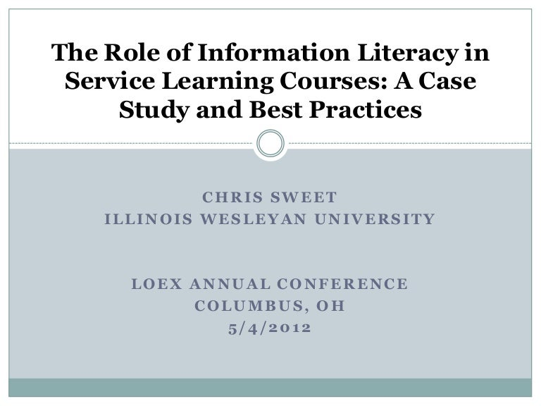 the role of information literacy in service learning