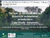 The role of multistakeholder forums in subnational jurisdictions - Case Study: Indonesia