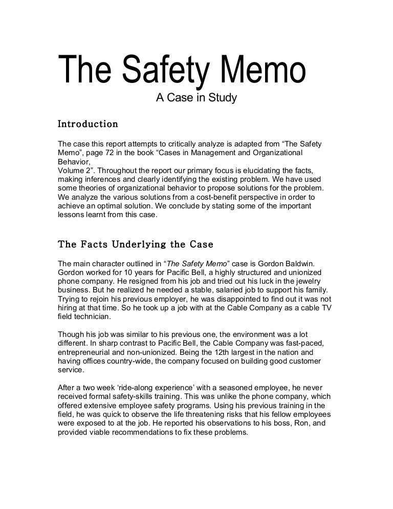 The Safety Memo