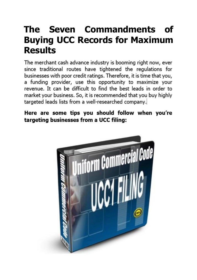 the seven commandments of buying ucc records for maximum