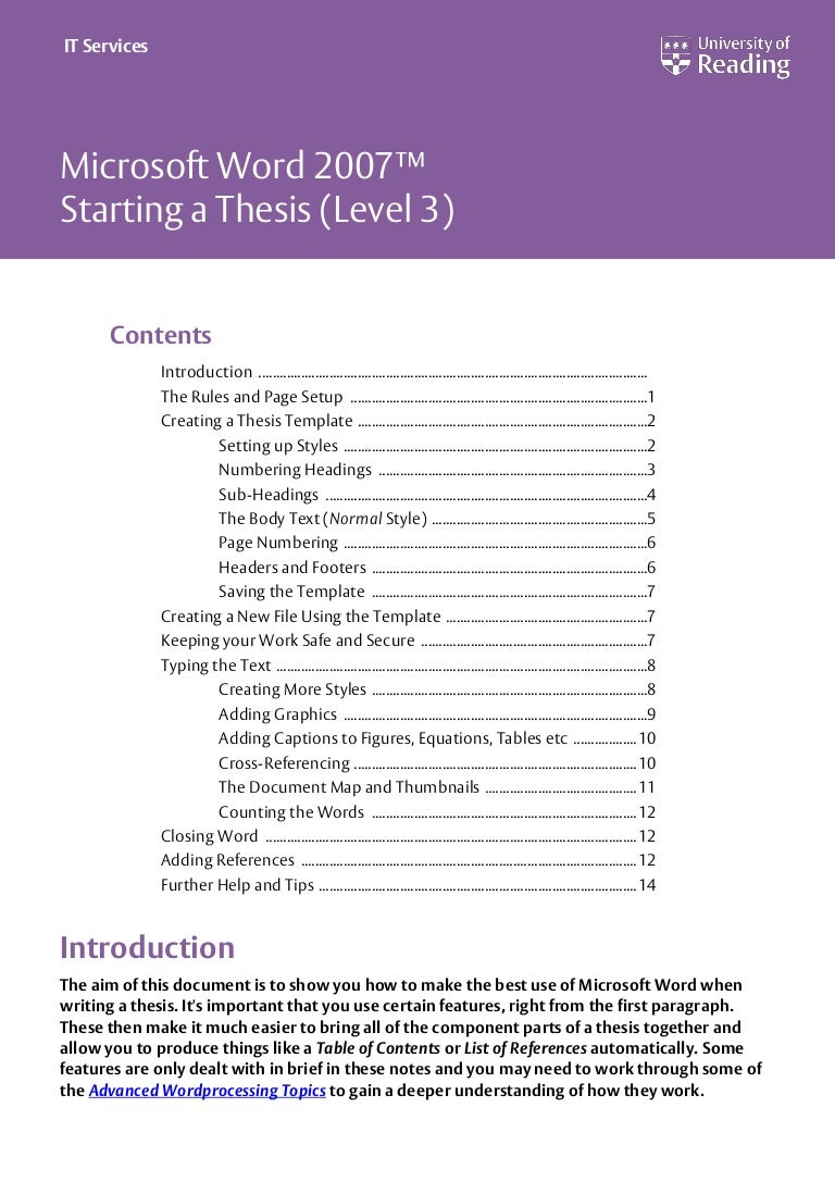 university of reading thesis rules