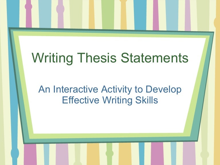how to write a thesis statement for beginners