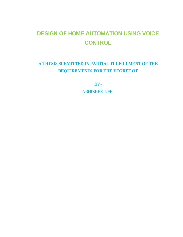 Thesis - Voice Control Home Automation