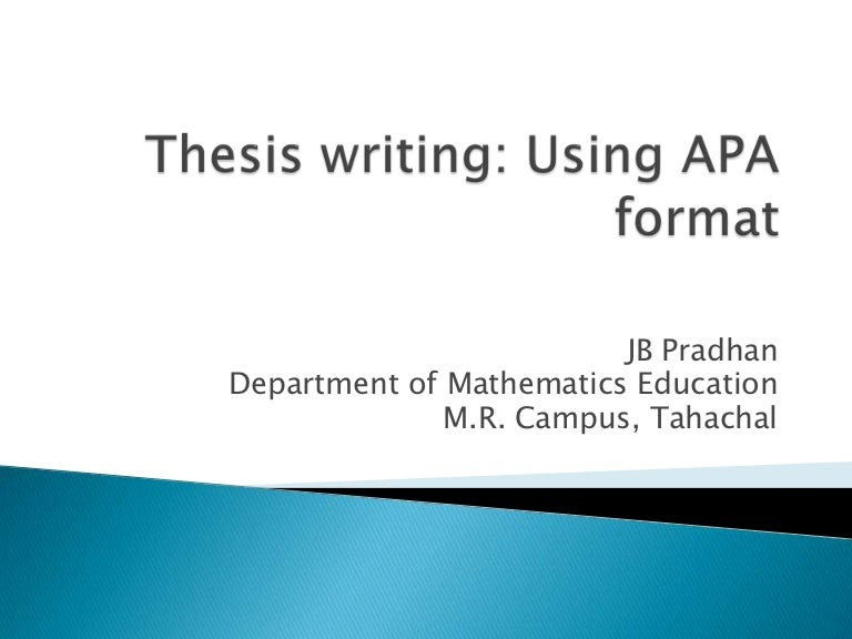 thesis writing using apa format