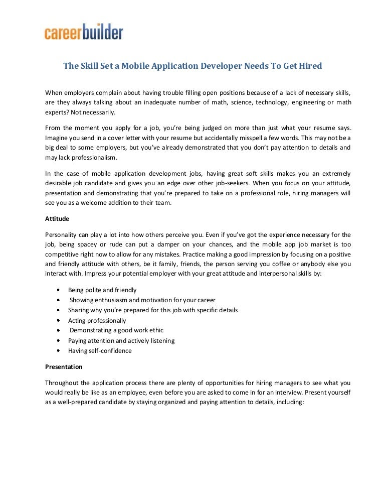 The skill set a mobile application developer needs to get hired