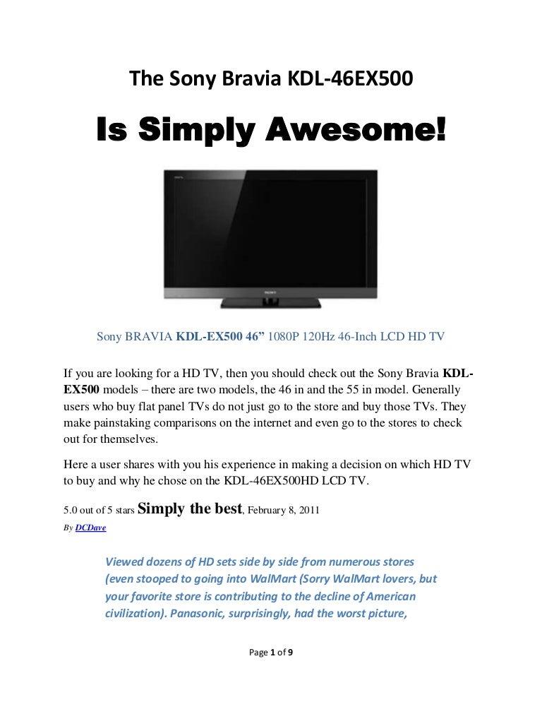 Sony BRAVIA KDL-46EX500 HDTV Drivers (2019)