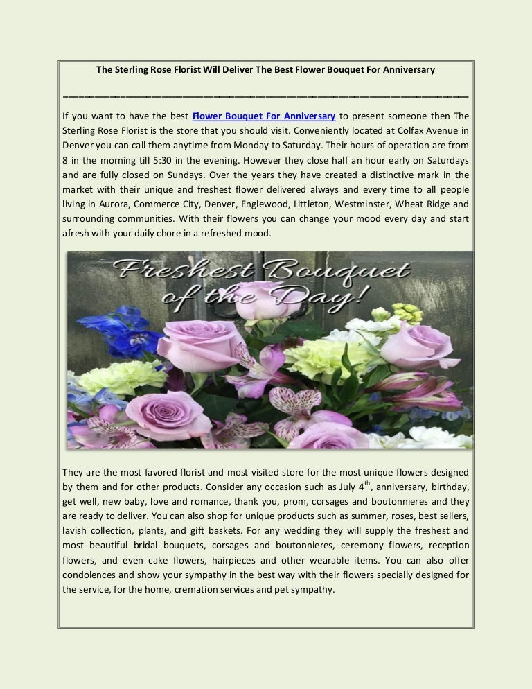 The Sterling Rose Florist Will Deliver The Best Flower Bouquet For An