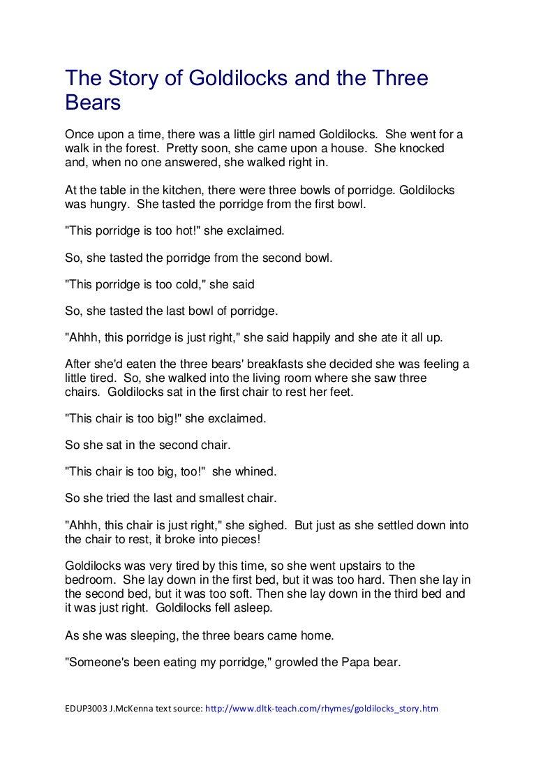 Uncategorized Short Story Goldilocks And The Three Bears the story of goldilocks and three bears pdf