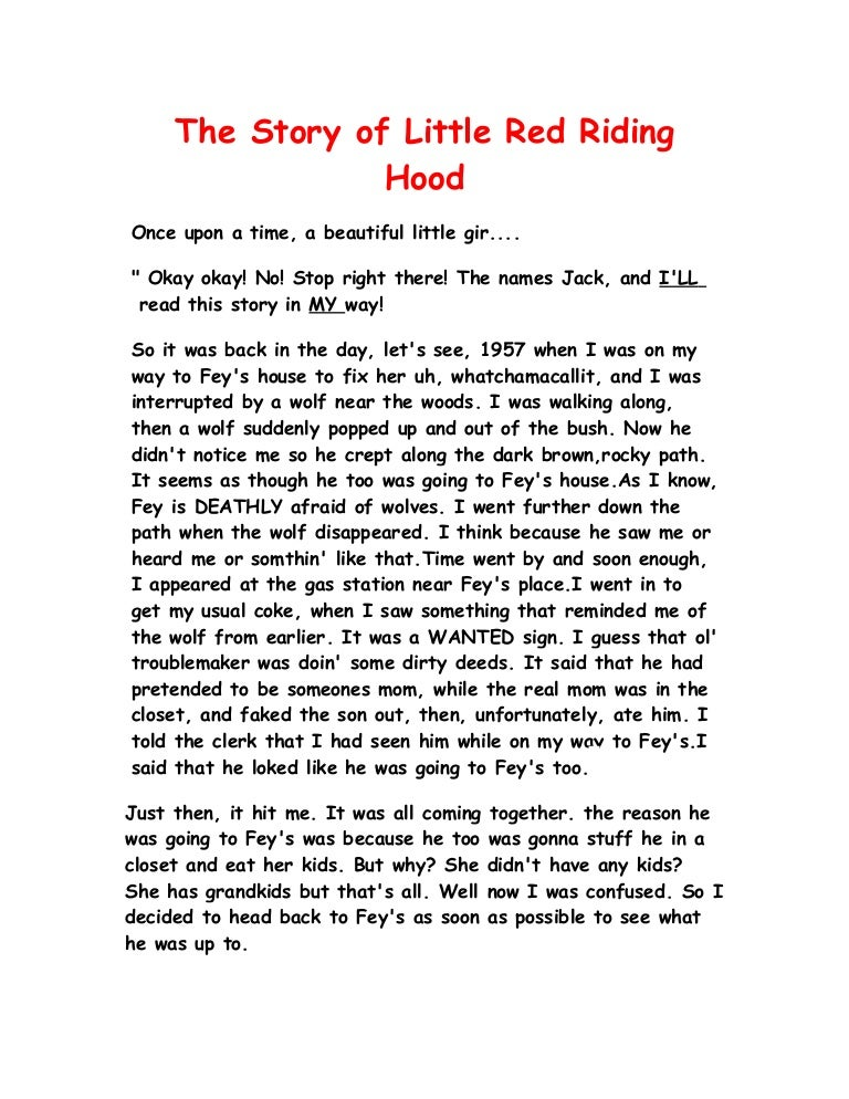 The Story Of Little Red Riding Hood Fractured Fairytale