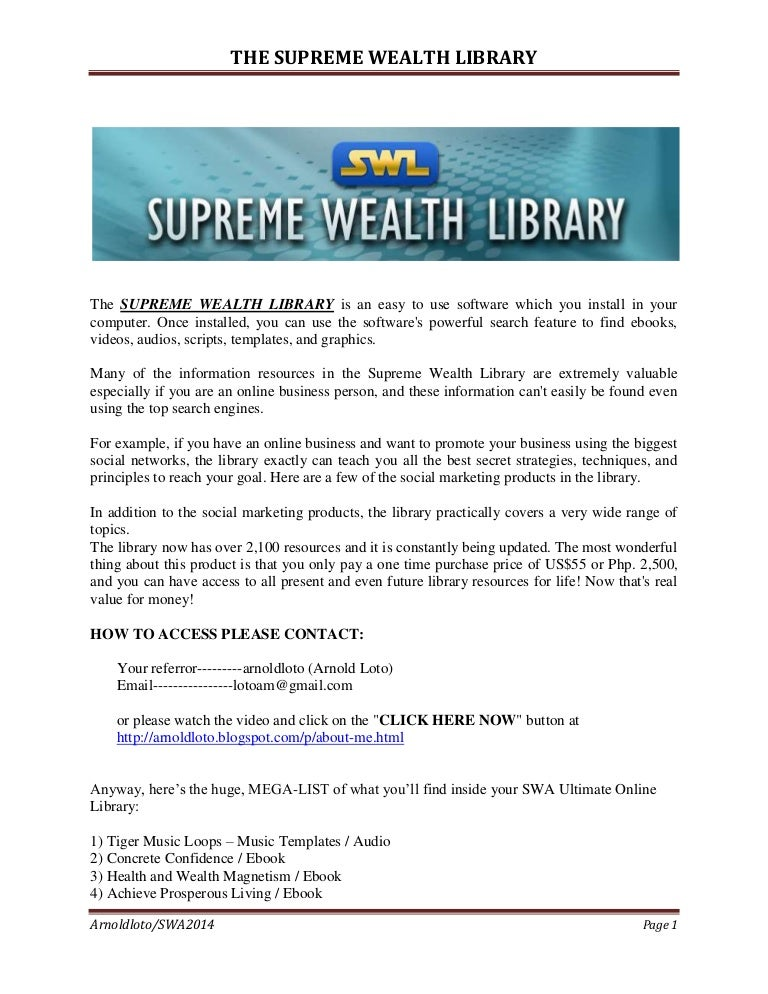 The supreme wealth online library fandeluxe Image collections