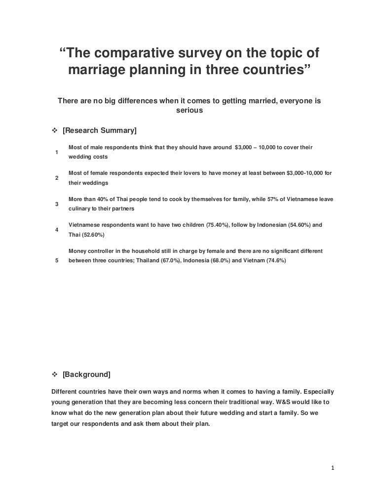 The Survey on Marriage Among 3 countries, Thailand