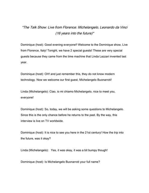 written radio talk show script