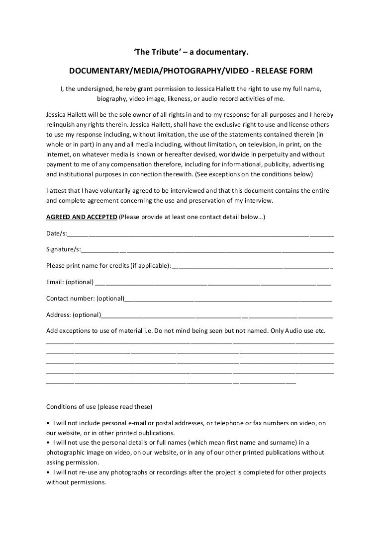The tribute release form – Interview Release Form