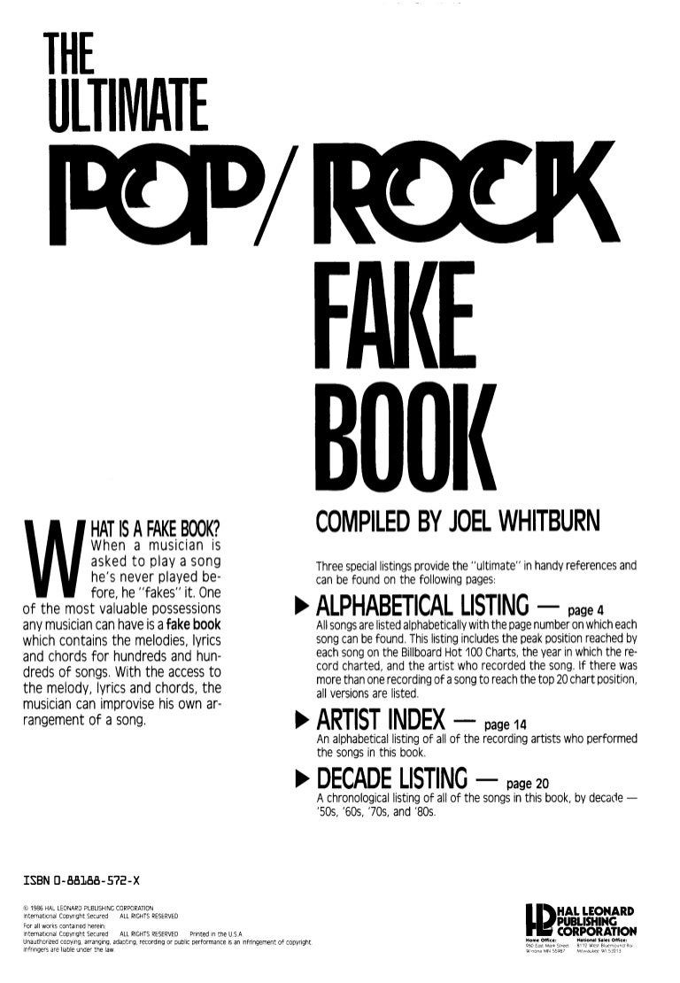 The ultimate pop rock fake book hexwebz Images