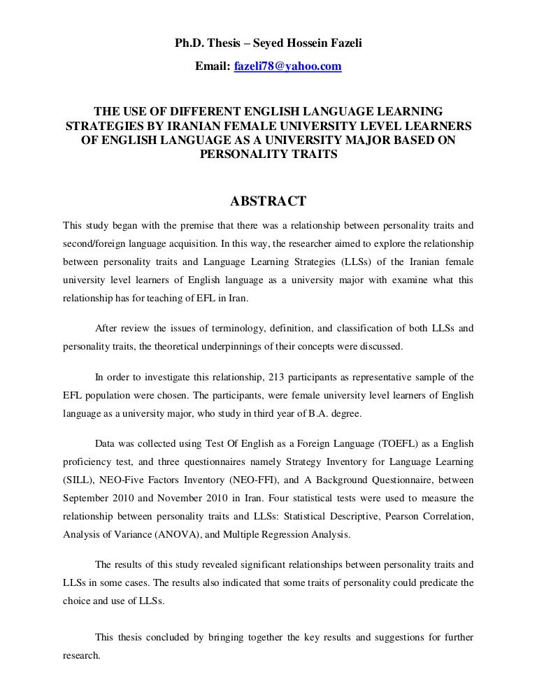 Thesis on language learning strategies how to write a written statement for