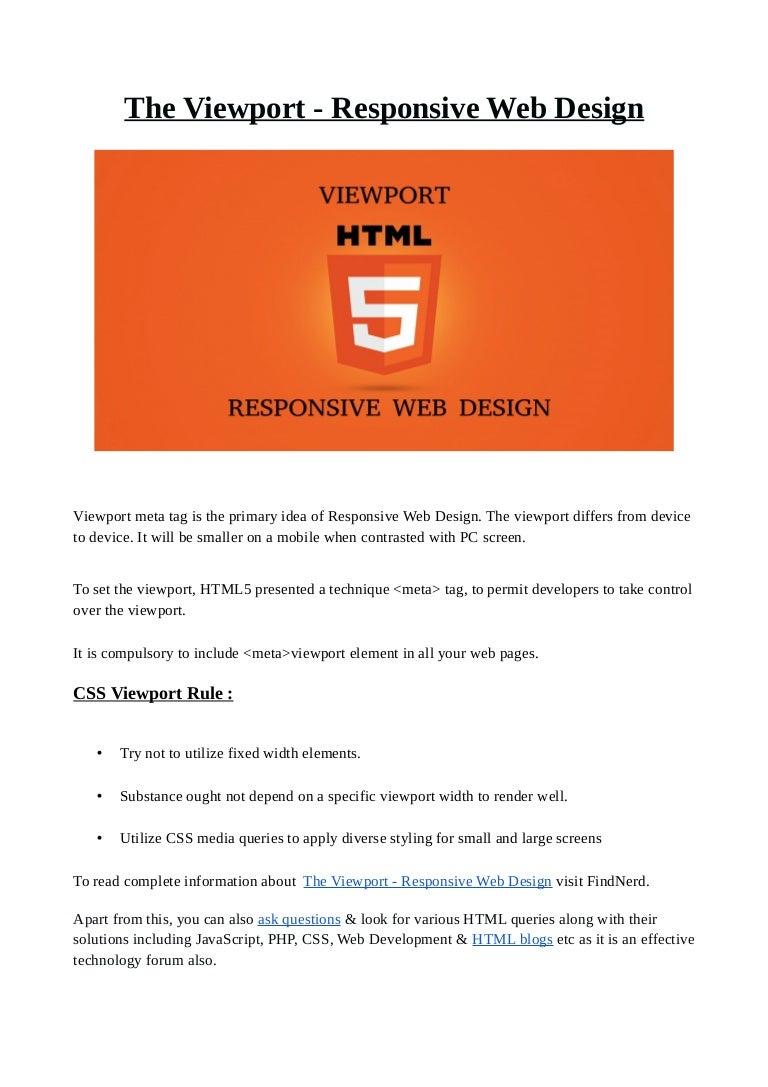 The Viewport Responsive Web Design