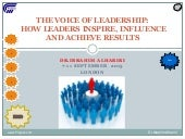 The voice of leadership how leaders inspire, influence and achieve results