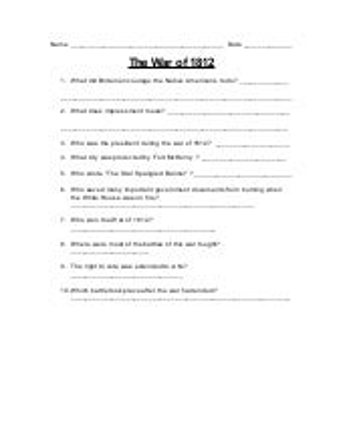The war of 1812 - worksheet