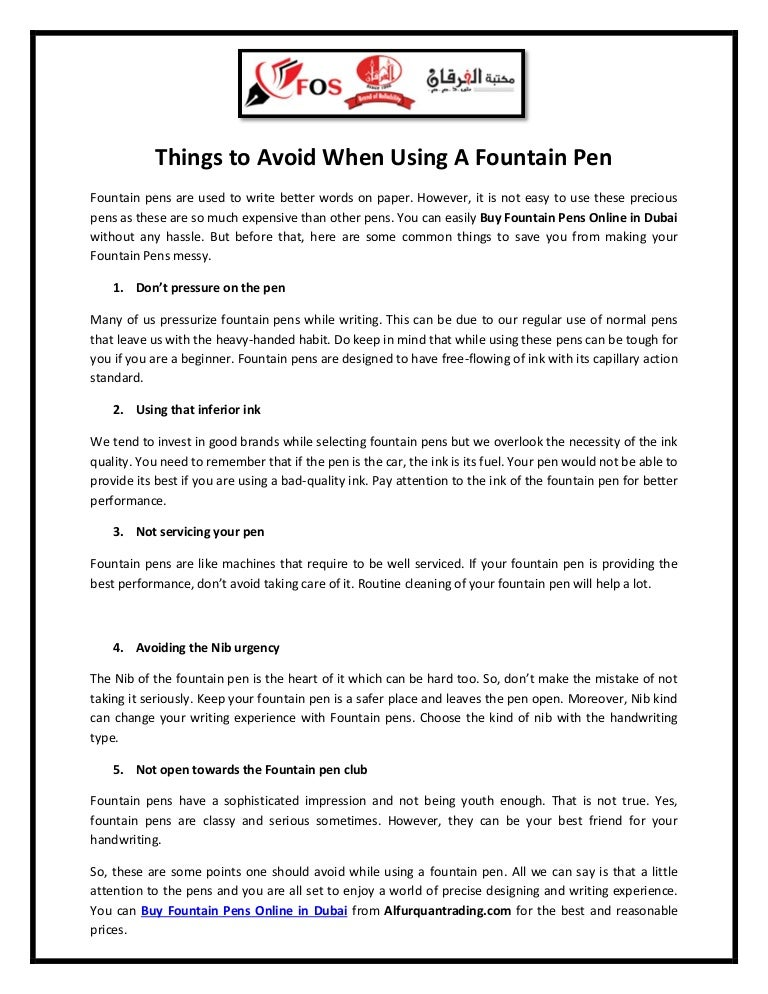 Things to avoid when using a fountain pen