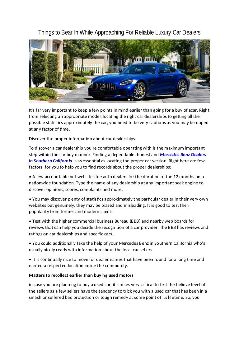 Used Car Dealerships Websites >> Things To Bear In While Approaching For Reliable Luxury Car