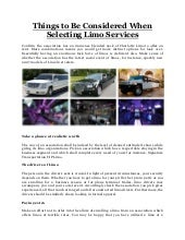 Things to Be Considered When Selecting Limo Services