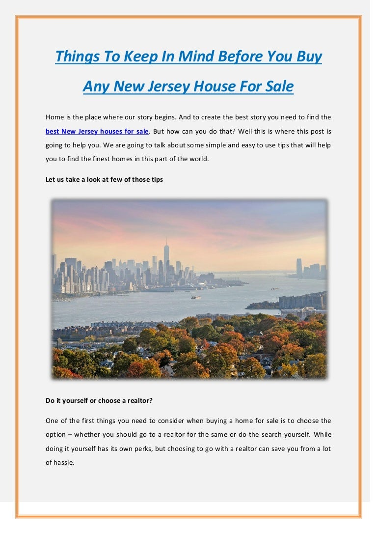 Things To Keep In Mind Before You Buy Any New Jersey House For Sale