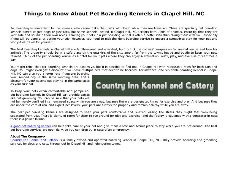 Things to Know About Pet Boarding Kennels in Chapel Hill, NC