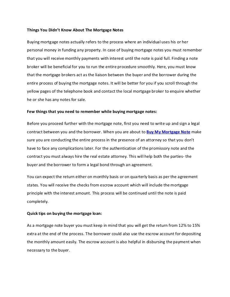 Things You Didnt Know About The Mortgage Notes Article