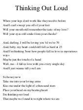 Lyrics to thinking out loud