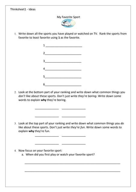 Thinksheet 1 - Ideas