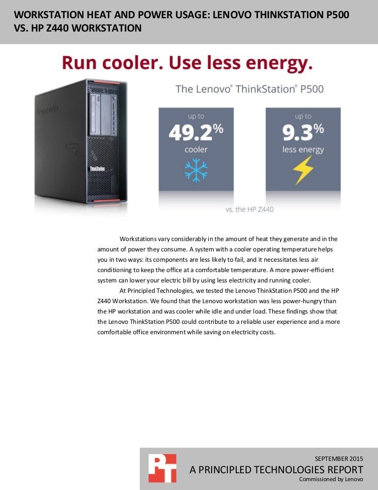 Workstation heat and power usage: Lenovo ThinkStation P500